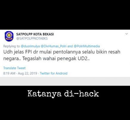 Pojokkan FPI, Akun Twitter Satpol PP Kota Bekasi Klaim di-hack BEKASIMEDIA.COM | MEDIA BEKASI SEJAK 2014