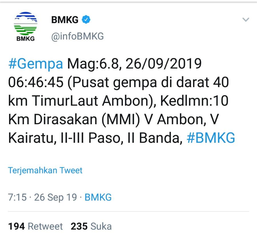 Gempa Ambon Mag: 6,8 Berpusat di Daratan BEKASIMEDIA.COM