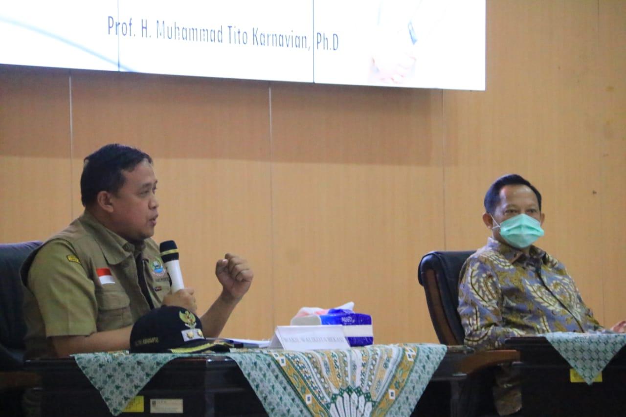 Wakil Walikota Tri Adhianto Paparkan Situasi Penanganan Covid-19 Kota Bekasi dihadapan Mendagri BEKASIMEDIA.COM