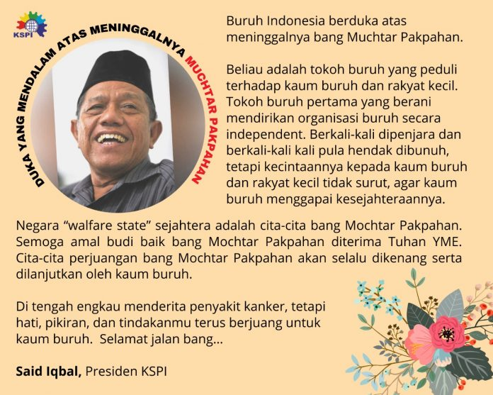 Muchtar Pakpahan Meninggal, Buruh Indonesia Berduka! BEKASIMEDIA.COM