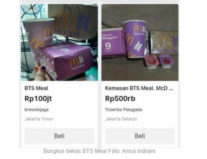 Lha Ilok, Bungkus Bekas BTS Meal Ada yang Jual Sampai 100 juta? BEKASIMEDIA.COM |